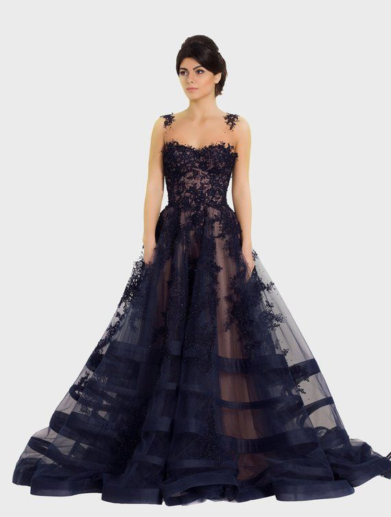 0e0a375d2d Lace evening gown in Night Blue