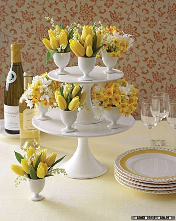 Love this idea! The tulips in the egg cups are cute. I have the cake plates.
