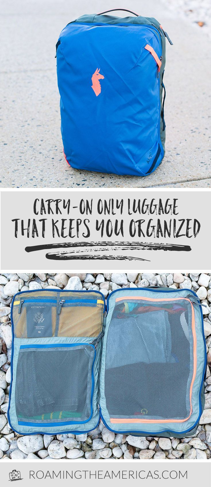 Carry-on only luggage | Convertible suitcase backpack | Travel backpack review | Cotopaxi Allpa 35L #travel #traveltips #travelgear  via @roamtheamericas