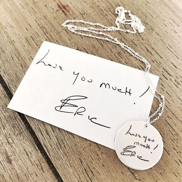 Lucy Necklace in Silver Personalized Custom Memorial Gift Large Round Handwriting Necklace Sterling Silver