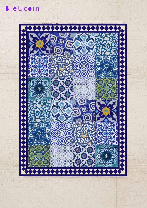 Floor Vinyl Rug: Blue Pottery Pattern by Bleucoin on Etsy