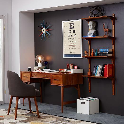 west elm mid century desk acorn 52w x 24 century office