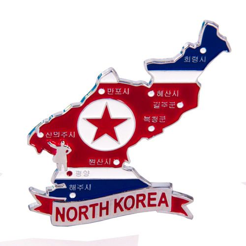 Metal Fridge Magnet: North Korea. LIMITED EDITION: Map of North Korea (Chrome Plating and Enamel)