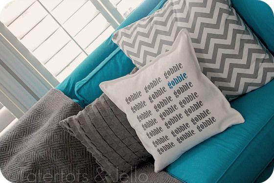 {{Gobble Gobble}} Thanksgiving Pillow tutorial -- Tatertots and Jello #DIY #thanksgiving