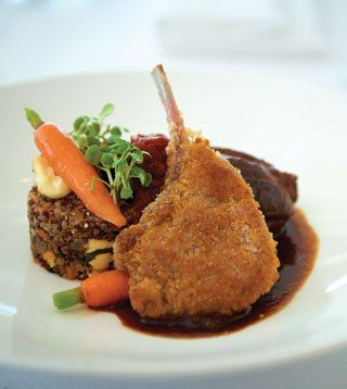 Braised lamb shank and crumbed lamb cutlet with quinoa, ricotta, mint and carrot salad