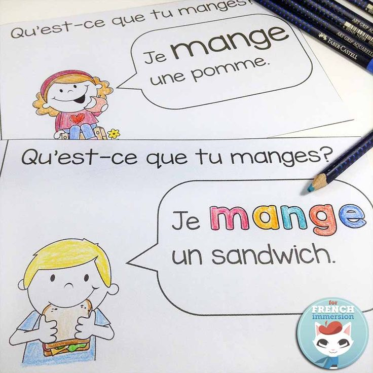 French emergent reader: je MANGE. Reading, writing, cutting and pasting to practice French sight words and improve reading skills.