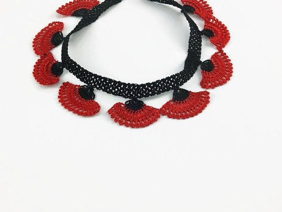 Crochet Necklace Red flower Necklace Crochet Necklace Knitted Summer Jewelry Statement Necklace Chandelier Necklace Oya Jewelry Statement Ne