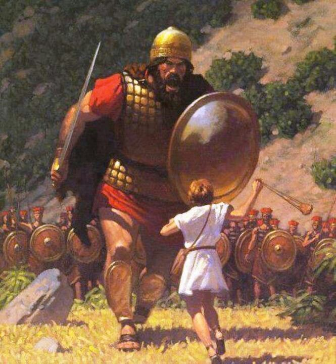 Really gives the sense of how much larger Goliath was, but also how courageous David was!