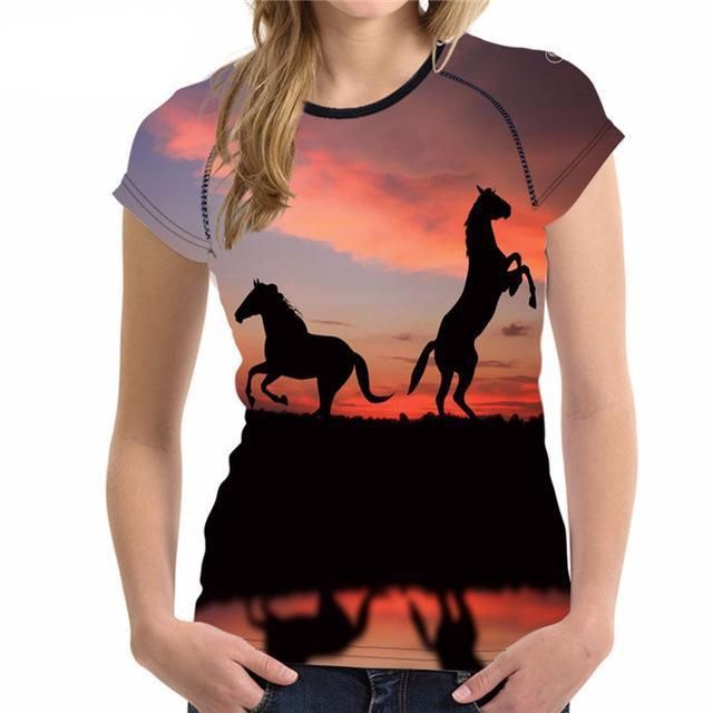 Unicorn T Shirt fashion stands above the rest. FORUDESIGNS Cool Horse Women T Shirt Summer Woman Tops Unicorn Breathable Female Shirts For Girls Short Sleeved