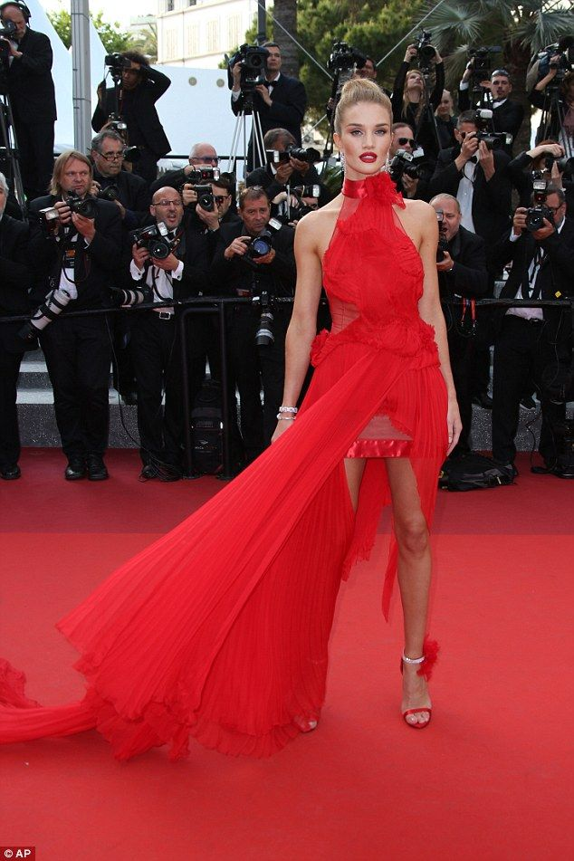 "Girl on fire! Rosie Huntington-Whiteley in a red Alexandre Vauthier Spring 2016 Couture gown attends ""The Unknown Girl"" Premiere on May 18, 2016 #Cannes2016"