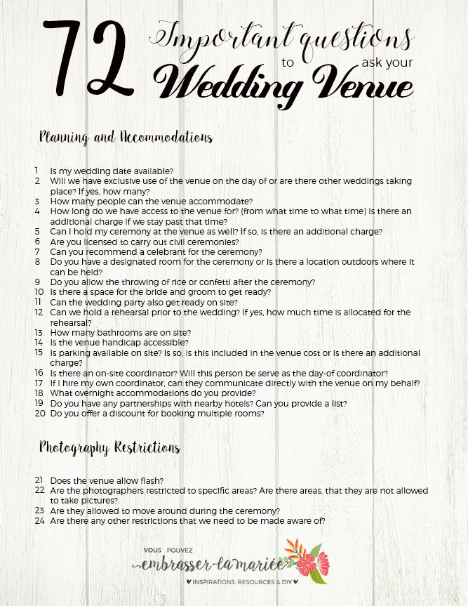 The Ultimate Checklist: 72 Questions to Ask your Wedding Venue