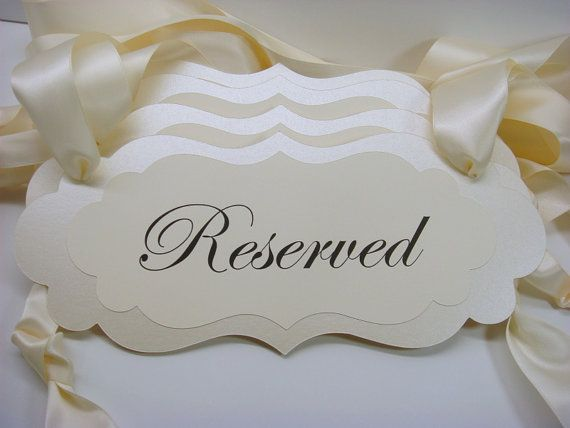 Wedding Decor Signage Reserved Ceremony Pew Signs for by wedology