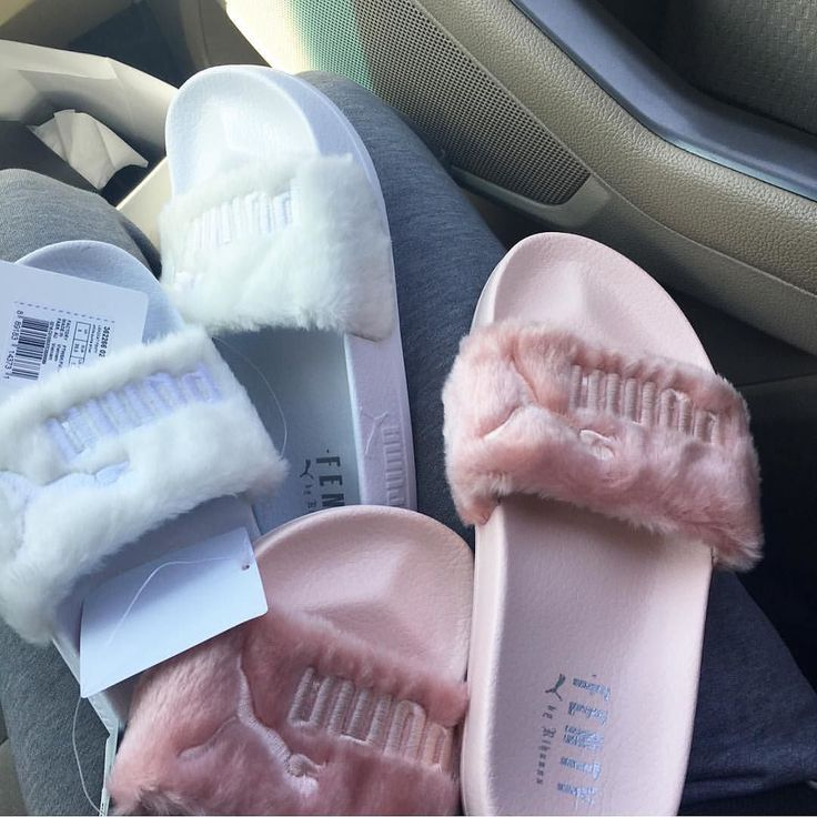 """""""Rihanna X Fenty"""" These slides are """"cool"""" in terms of fashion because of the colors, fur details and brand name. As the new creative director for Puma, Rihanna is adding a new edge to the brand which many fans and fashion admirers are taking favor of and incorporating in today's fashion trends.   Source: Tumblr"""