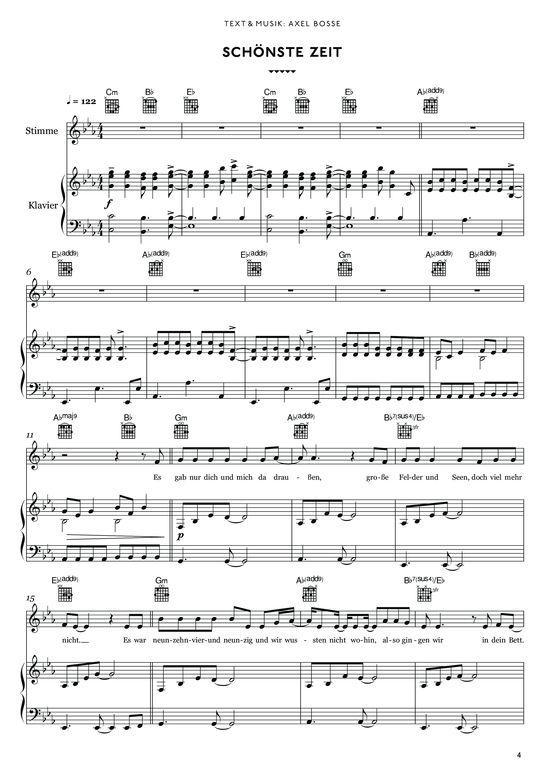Schönste Zeit (Klavier + Gesang) Bosse (2013) >>> KLICK auf die Noten um Reinzuhören <<<