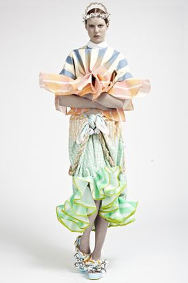 'MORRIS AND THE FISHGIRL' BY JOYCE WONG Costume. Ruffles. Melon. Green. Skirt. Top. Stripes