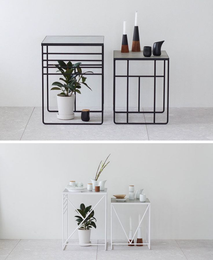 furniture design idea. industrial interior design idea concrete and steel tables the patterns on sides of these make them multifunctional in that they can be a furniture