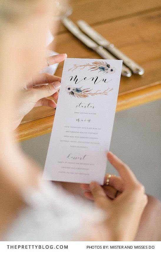 Earthy, floral wedding menu | Stationery by Letterlove Design | Photograph by Mister and Misses Do |