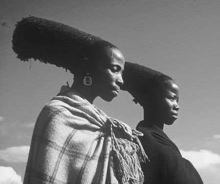 Zulu women with traditional hair style. South Africa