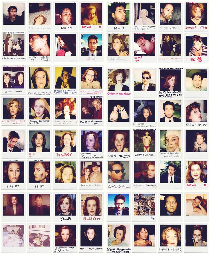 Continuity polaroids of Gillian Anderson and David Duchovny on the set of The X-Files