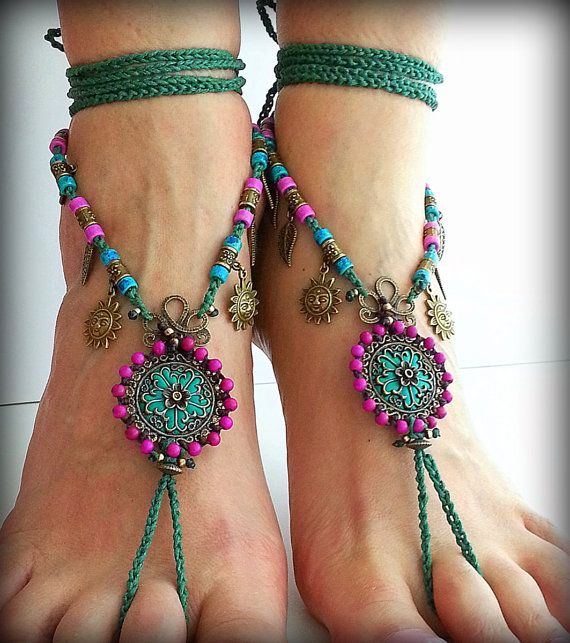 Barefoot sandal Boho sandals Hippie sandals Foot jewelry by FiArt bohemian barefoot sandals feature 2 handmade beaded mandalas and crocheted green waxed cotton cord, adorned with ceramic beads and brass charms. The main elements are made of brass filigree bases, magenta howlite magnesite beads and polymer clay