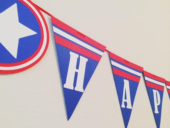 Happy Birthday Banner ; Captain America Birthday ; Super Hero Birthday Decorations : Super Heroes Party by Lets Get Decorative