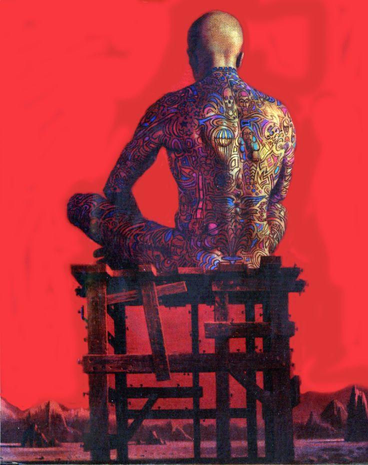 Detalle de la carátula del libro The Illustrated Man, Ray Bradbury, Bantam, 1982. Artículo:MUEBLES, NUDOS, ESCRITOS Y CULTURAS http://revistas.udistrital.edu.co/ojs/index.php/c14/article/view/1213