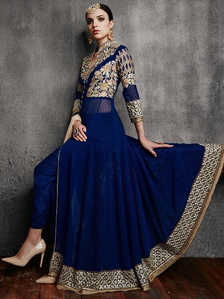 Navy Blue Georgette Embroidered Anarkali Suit #NavyBlue #Anarkali