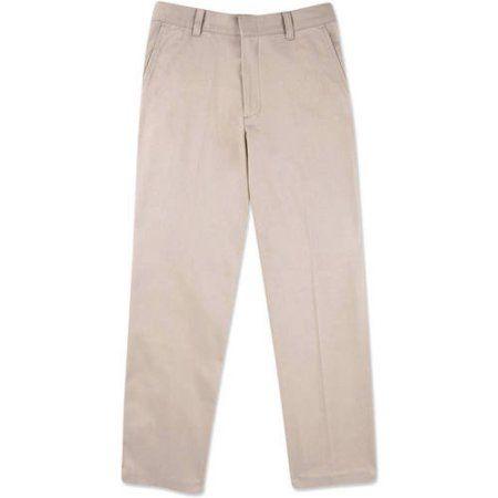 George Boys School Uniforms Wrinkle Resistant Prep Flat Front Pants Size 18-22, Size: 20, Beige