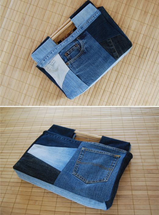 Recycle old JEANS into pretty BAG...I would do a prettier fabric.  I like the handles!
