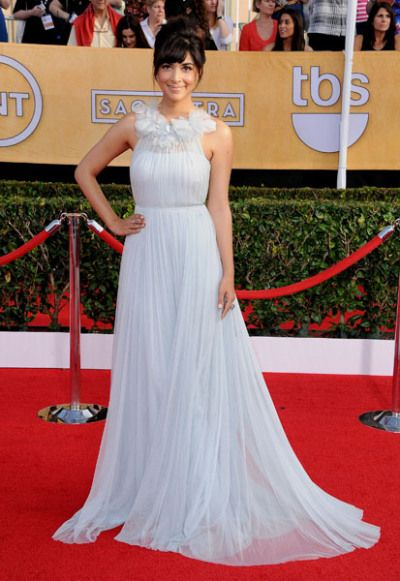 'New Girl' star Hannah Simone looked angelic in a flowing pale blue gown for her very first SAG Awards red carpet.