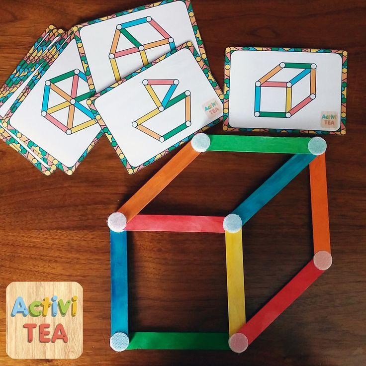 Juego de palitos de colores para crear figuras