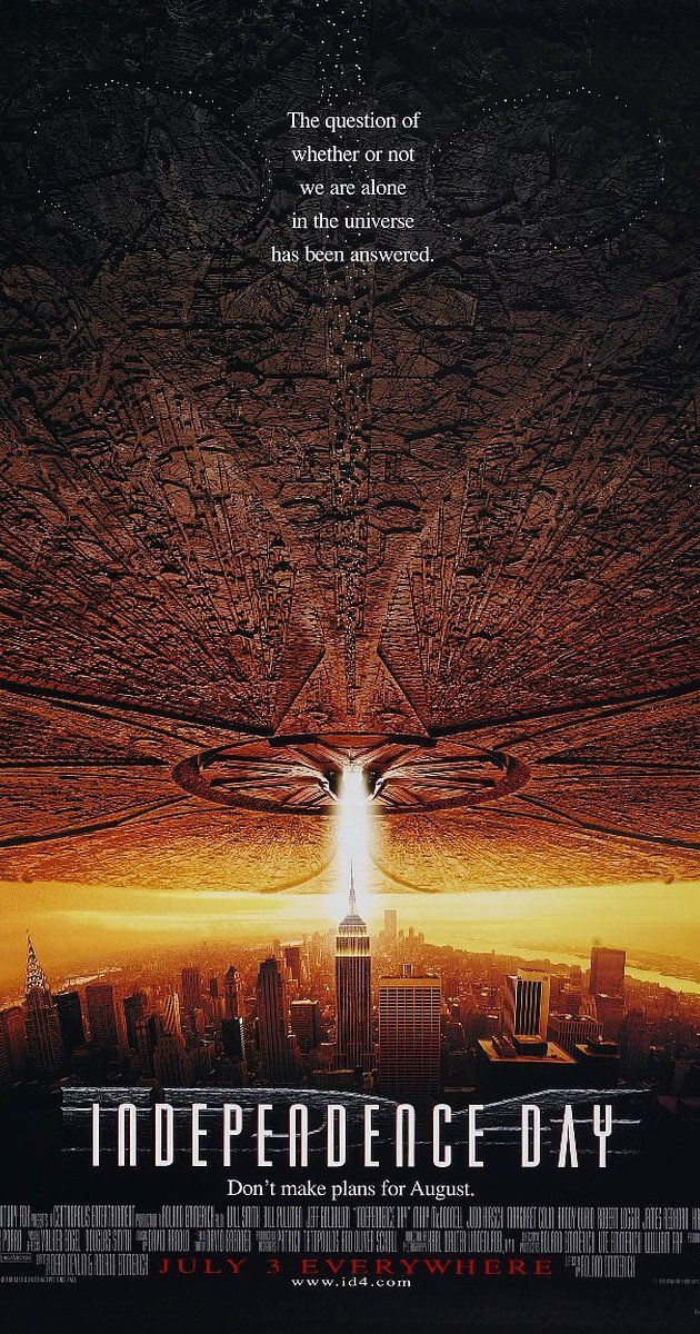 Directed by Roland Emmerich.  With Will Smith, Bill Pullman, Jeff Goldblum, Mary McDonnell. The aliens are coming and their goal is to invade and destroy Earth. Fighting superior technology, mankind's best weapon is the will to survive.