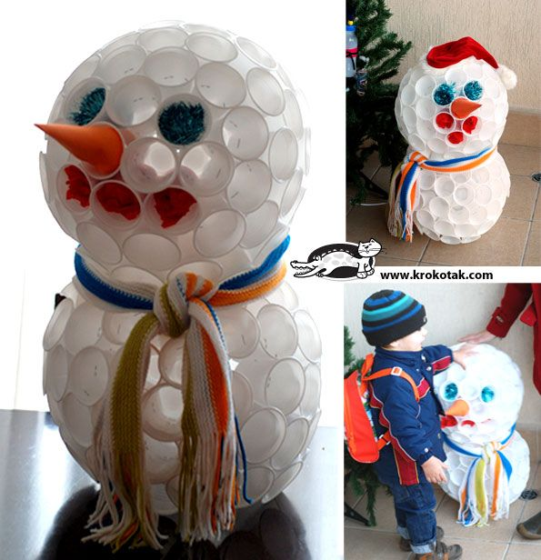 Plastic Cup Snowman Krokotak Feestdagen Pinterest