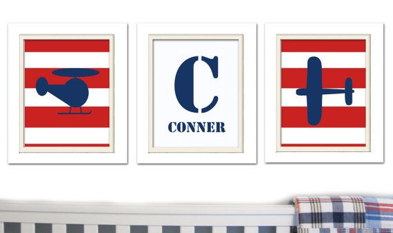 Nursery Art, Blue and Red Nursery, Madras Nursery, Set of 3, 8X10, Airplanes, Baby Boy, Madras Nursery, Childrens art, Boys Room Art