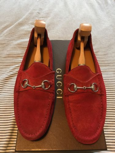 6f867627555c5 Authentic Gucci Horsbit Driving Loafer Size 11 Red Suede w Silver Hardware  Men s  gucci  fashion  designer  boutique  trending