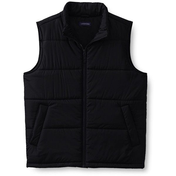 Lands' End Men's Puffer Vest (27 AUD) ❤ liked on Polyvore featuring men's fashion, men's clothing, men's outerwear, men's vests, black, mens quilted vest, mens puffy vest, lands end mens vest and mens puffer vest