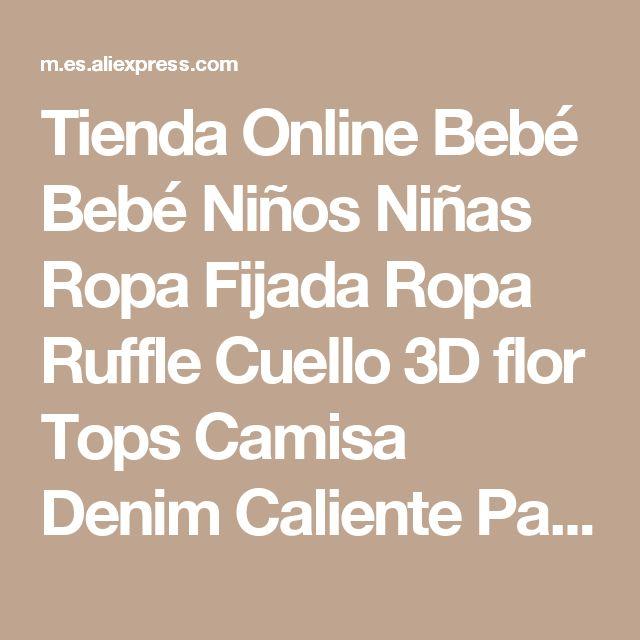 Tienda Online Bebé Bebé Niños Niñas Ropa Fijada Ropa Ruffle Cuello 3D flor Tops Camisa Denim Caliente Pantalones de Verano de la Muchacha Trajes de Disfraces 2 Unids | Aliexpress móvil