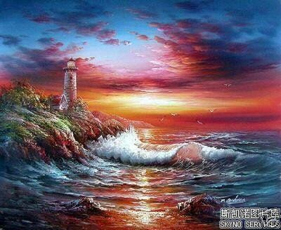 Thomas Kinkade Landscape Oil Painting:lighthouse