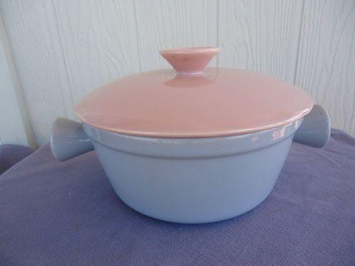 vintage retro diana australia pottery pink & grey casserole dish mid century | eBay