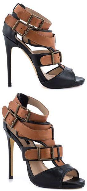 Cognac Tri-Buckle Strappy Heels ♥