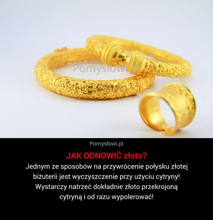 Jednym ze sposobów na przywrócenie połysku złotej biżuterii jest wyczyszczenie przy użyciu cytryny! Wystarczy natrzeć dokładnie złoto przekrojoną cytryną i ...
