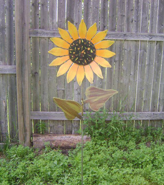 How To Make Metal Garden Art Part - 19: Sunflower On Stake Metal Garden Art Painted By Northwindmetalart