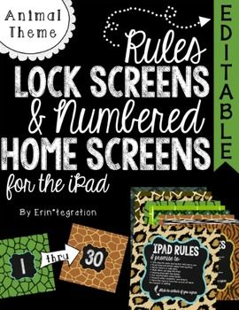 "iPad Rules Lockscreen & Numbered Background - now with Editable Rules included~ Animal Print and Chalk Theme iPad Rules Lockscreen & Numbered Background Images for Student iPads! ~ Hold students accountable for iPad rules every time they ""swipe right to unlock"" with beautiful photo background with rules printed on the front."