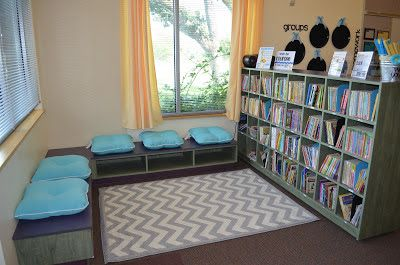 Classroom Library - short shelves (preferably against a wall for student safety and visibility - is organized by genre.