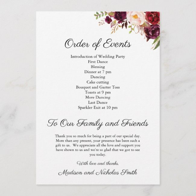 Create Your Own Flat Program Zazzle Com In 2020 Wedding Reception Program Wedding Order Of Service Wedding Order