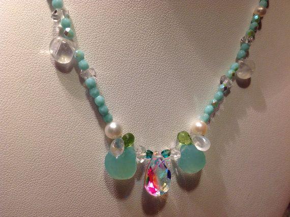 Diamonds Pearls Moonstones  Peridots Chalcedony by JewelryByShari, $460.20