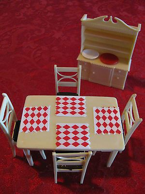 Renwal Ivory Kitchen Dining Set China Cabinet Vtg Plastic Dollhouse Furniture