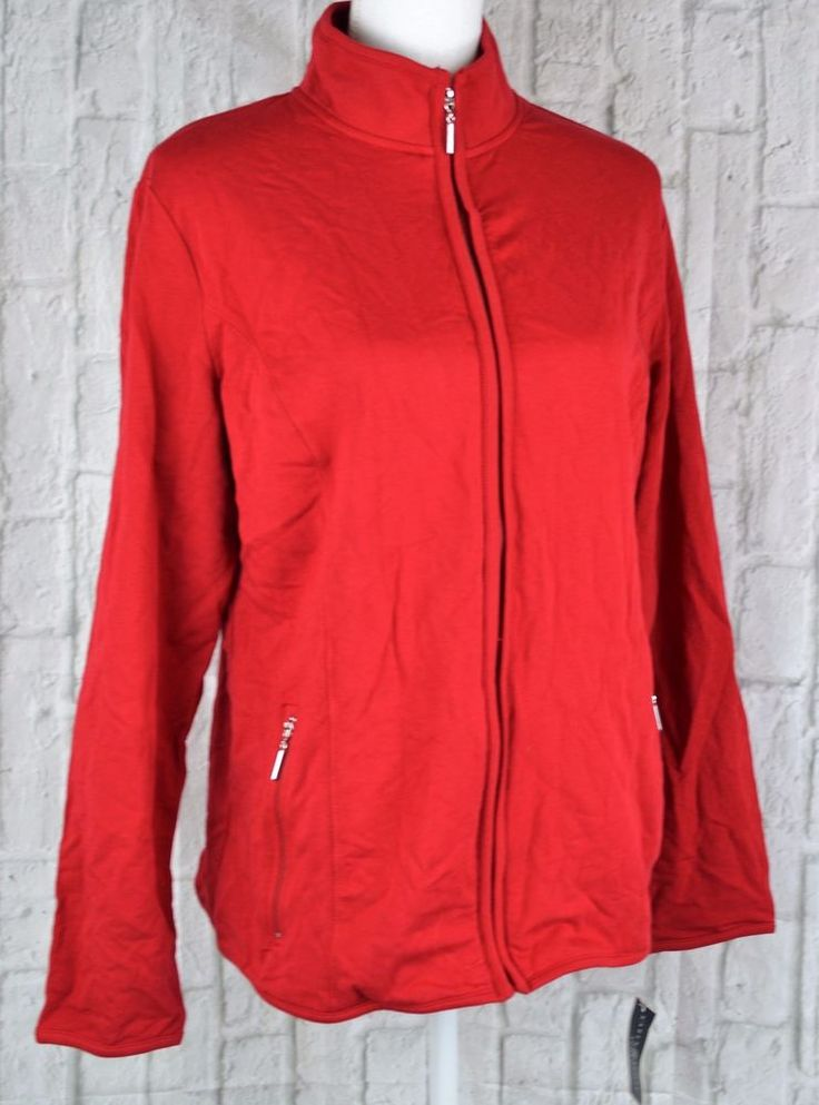 Karen Scott Sport Zip Front Jacket Sweater Lightweight Long Sleeve Red Medium M #KarenScottSport #SweatshirtJacketZipFront #Casual