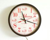 Vintage Advertising Wall Clock / Kitchen Clock / Industrial Decor