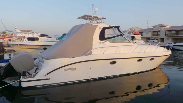 Oryx 40  Gulf Craft  Model: 2010  Hull: Fibre glass  Price: 80,000 BHD  Engine: 2 x Mercury 300  Engine hours: 204 only  Generator: Onan 11.5 K Va  1 Master bedroom  1 Cabin  Upholstery: Carbon Fibre  Wooden Parque  L.E.D lights Underwater lights (16 colours)  Ice Maker  Fresh water tank  Blige pump  Radar  Bose Sound system  Stereo: Fusion  Ship to Shore radio  Fish finder  2 Air conditioners  Additional Shower  Carpets  Sitting  Well Maintained  Excellent Condition